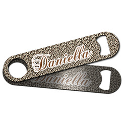 Leopard Print Bar Bottle Opener w/ Name and Initial