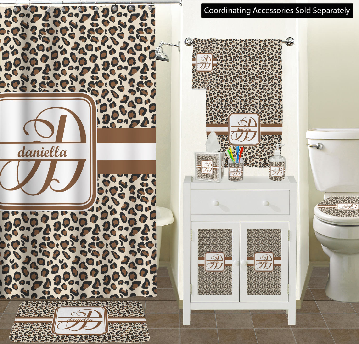 Leopard Print Bathroom Accessories Set (Personalized) - YouCustomizeIt