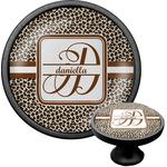 Leopard Print Cabinet Knob (Black) (Personalized)