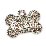 Leopard Print Bone Shaped Dog Tag (Personalized)