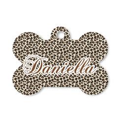 Leopard Print Bone Shaped Dog Tag (Personalized)
