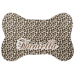 Leopard Print Bone Shaped Dog Food Mat (Personalized)