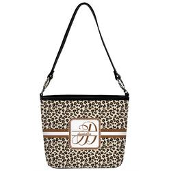 Leopard Print Bucket Bag w/ Genuine Leather Trim (Personalized)