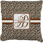 Leopard Print Faux-Linen Throw Pillow (Personalized)