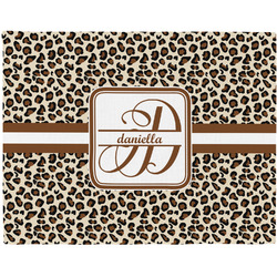 Leopard Print Woven Fabric Placemat - Twill w/ Name and Initial
