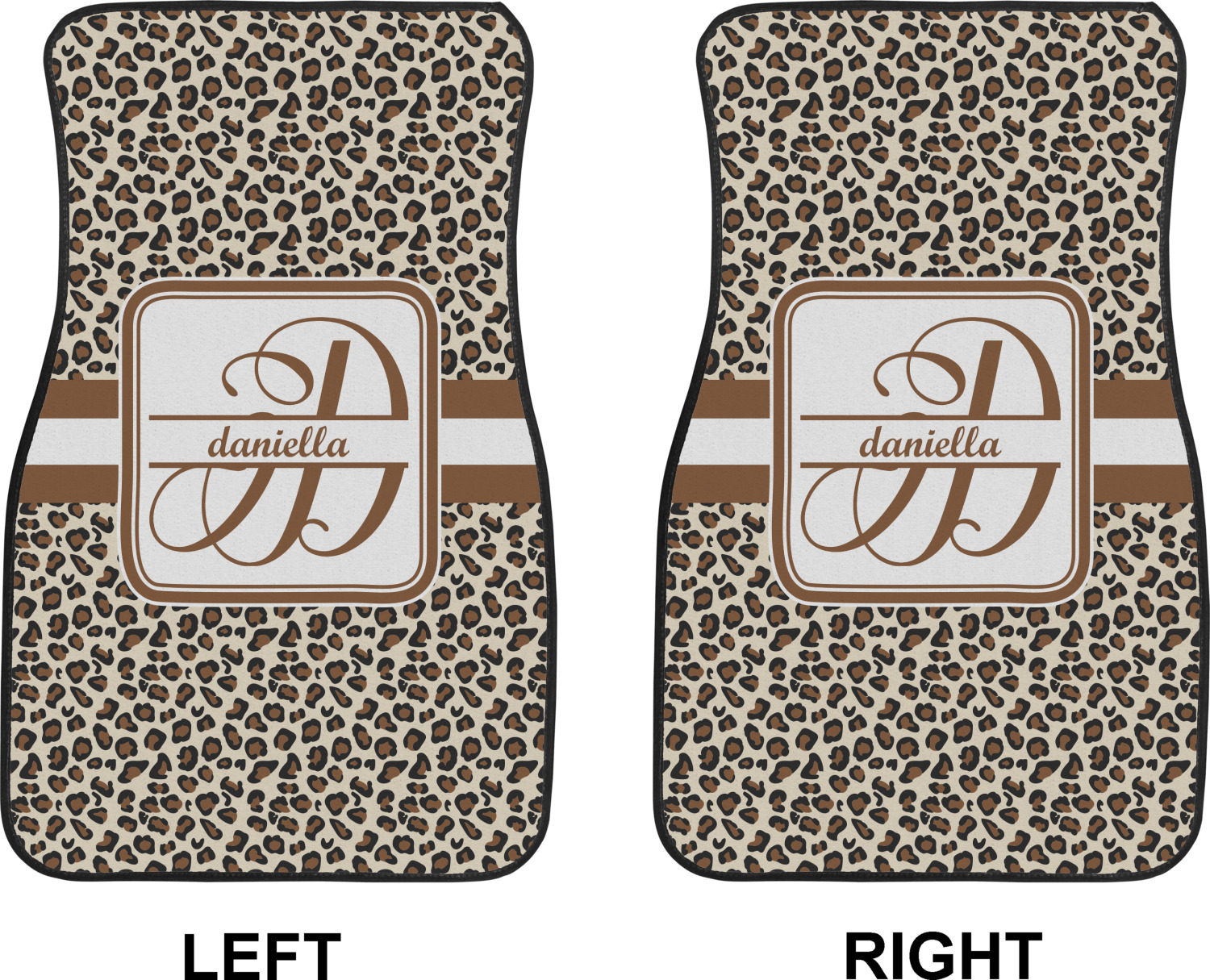 Leopard print car floor mats front seat personalized for Floor print