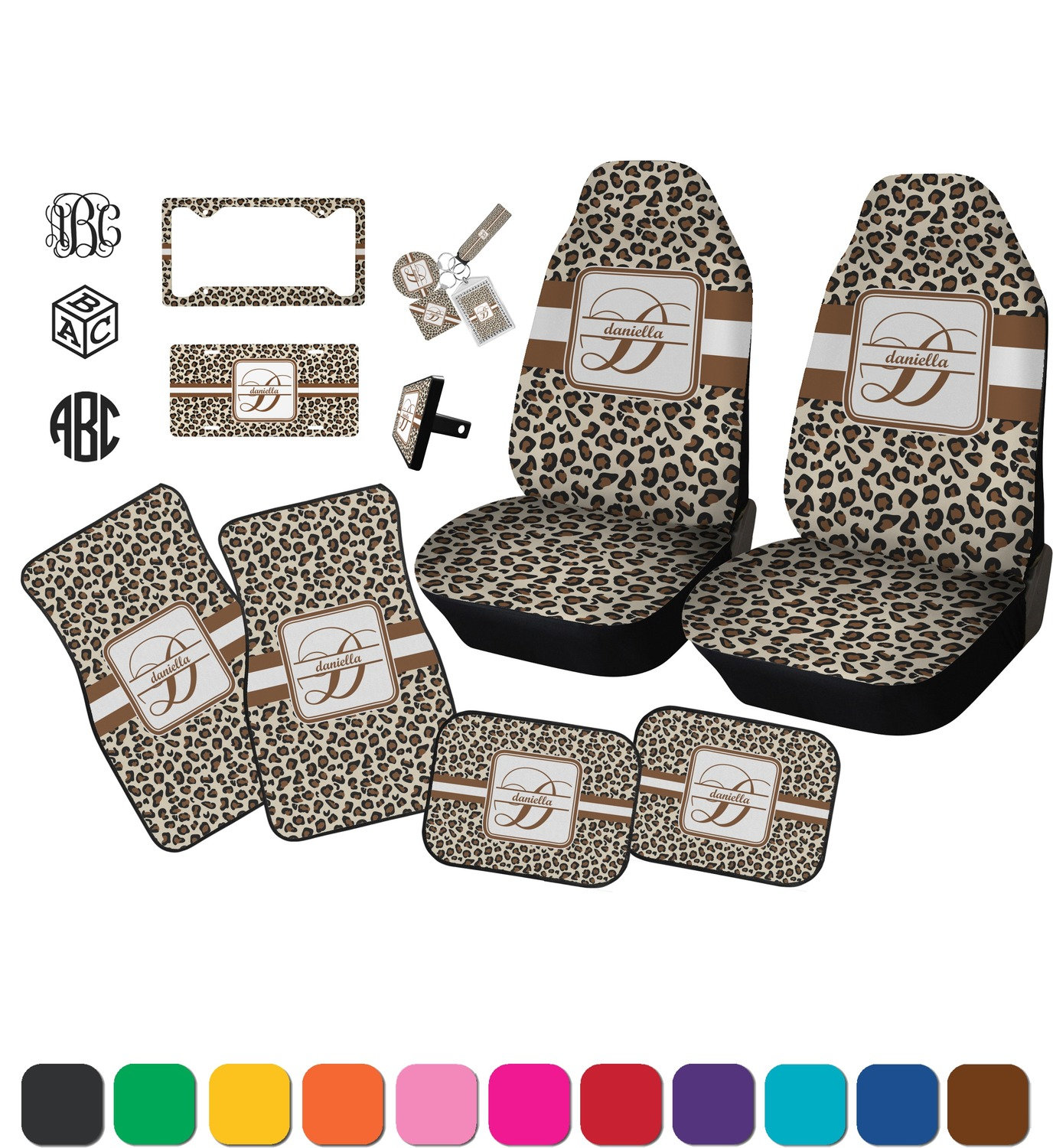 leopard print car seat covers set of two personalized rnk shops. Black Bedroom Furniture Sets. Home Design Ideas