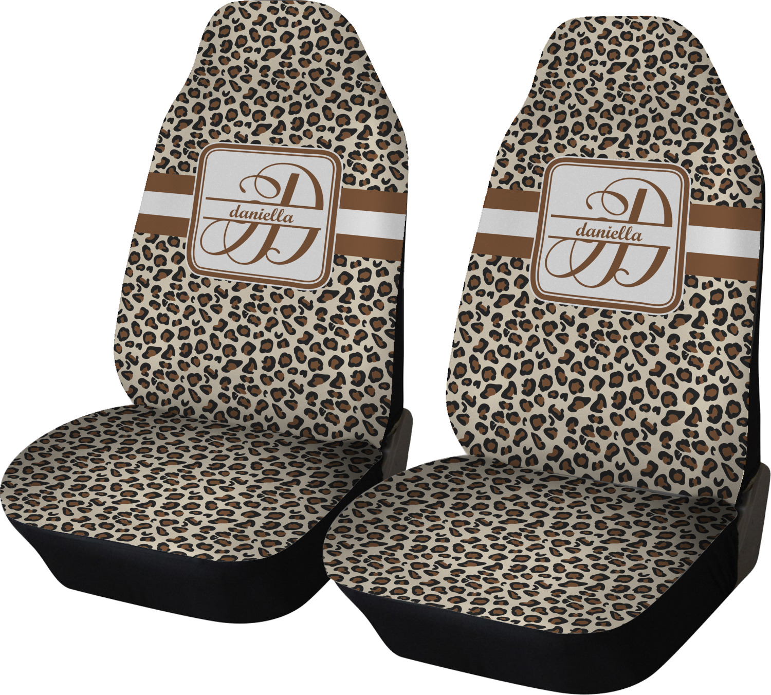 leopard print car seat covers set of two personalized youcustomizeit. Black Bedroom Furniture Sets. Home Design Ideas