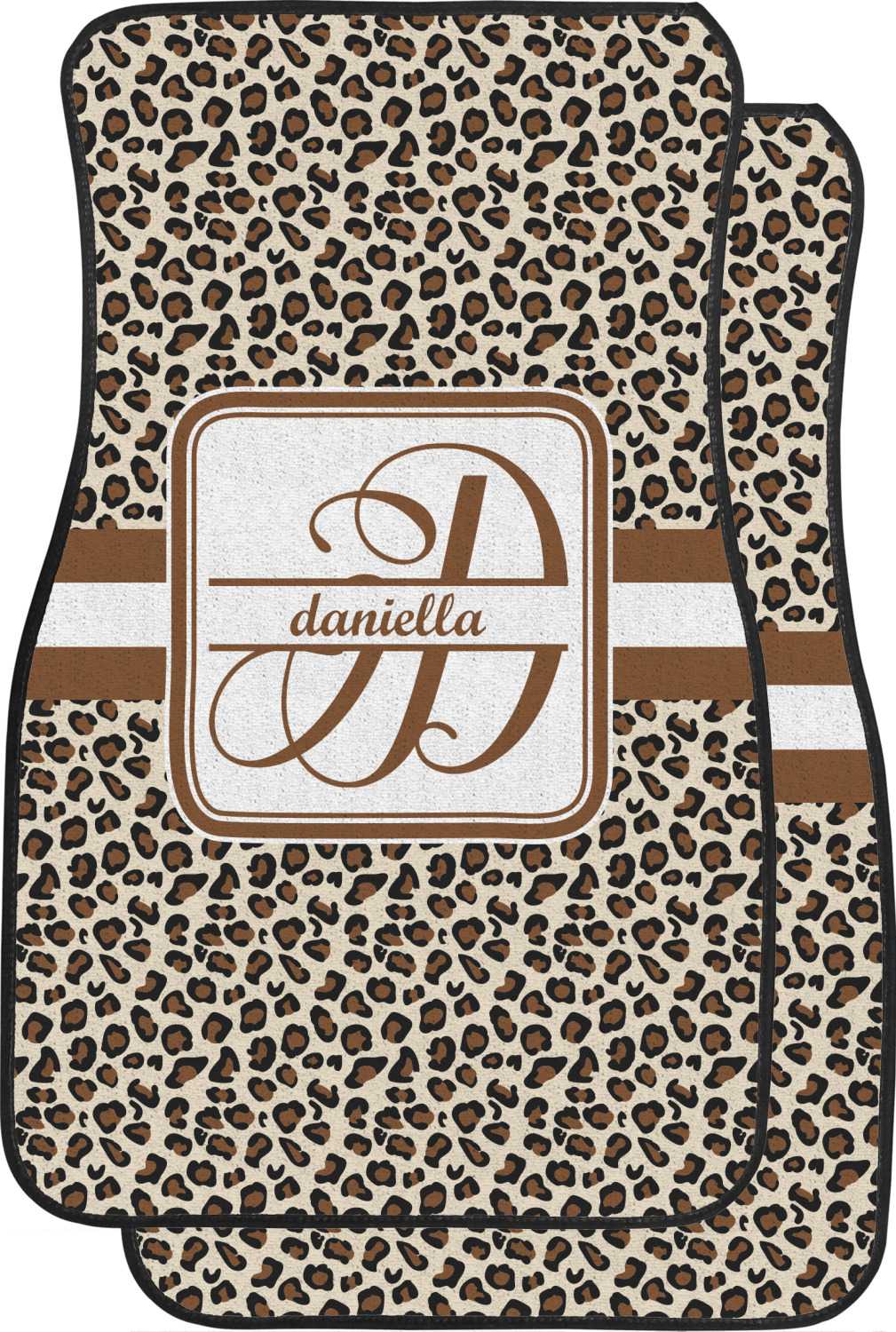 Leopard Print Car Floor Mats Front Seat Personalized
