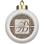 Leopard Print Ceramic Ball Ornament (Personalized)