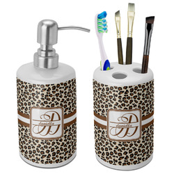 Leopard Print Ceramic Bathroom Accessories Set (Personalized)