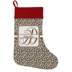 Leopard Print Holiday Stocking w/ Name and Initial