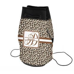 Leopard Print Neoprene Drawstring Backpack (Personalized)