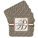 Leopard Print Cork Coaster - Set of 4 w/ Name and Initial