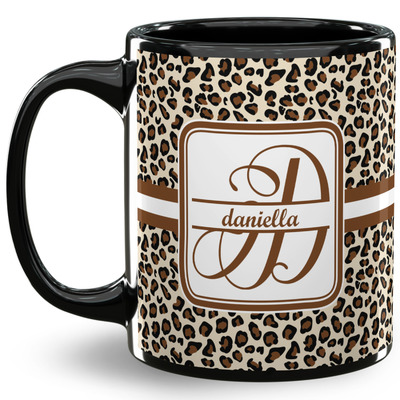 Leopard Print 11 Oz Coffee Mug - Black (Personalized)