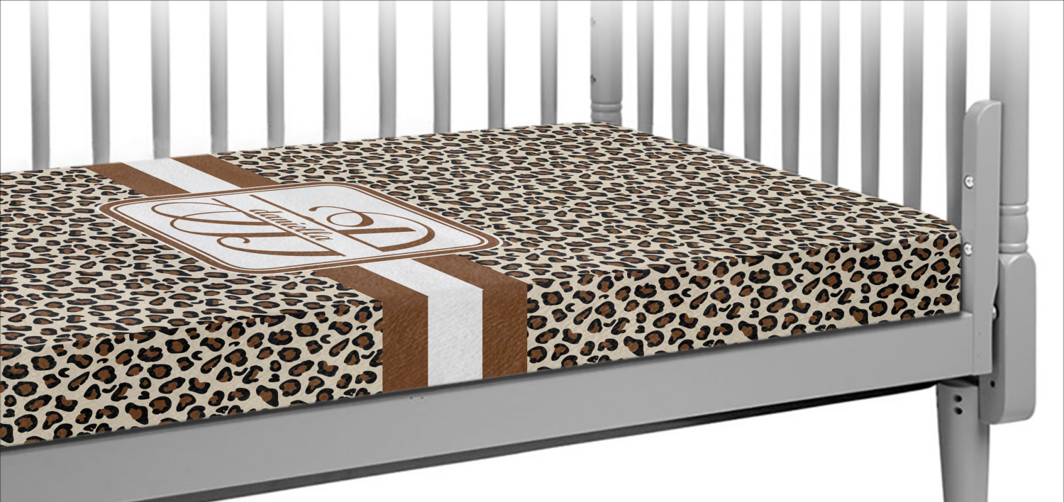 Leopard Print Crib Fitted Sheet Personalized