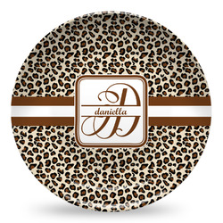 Leopard Print Microwave Safe Plastic Plate - Composite Polymer (Personalized)