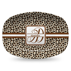 Leopard Print Plastic Platter - Microwave & Oven Safe Composite Polymer (Personalized)