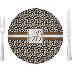 Leopard Print Glass Lunch / Dinner Plates 10