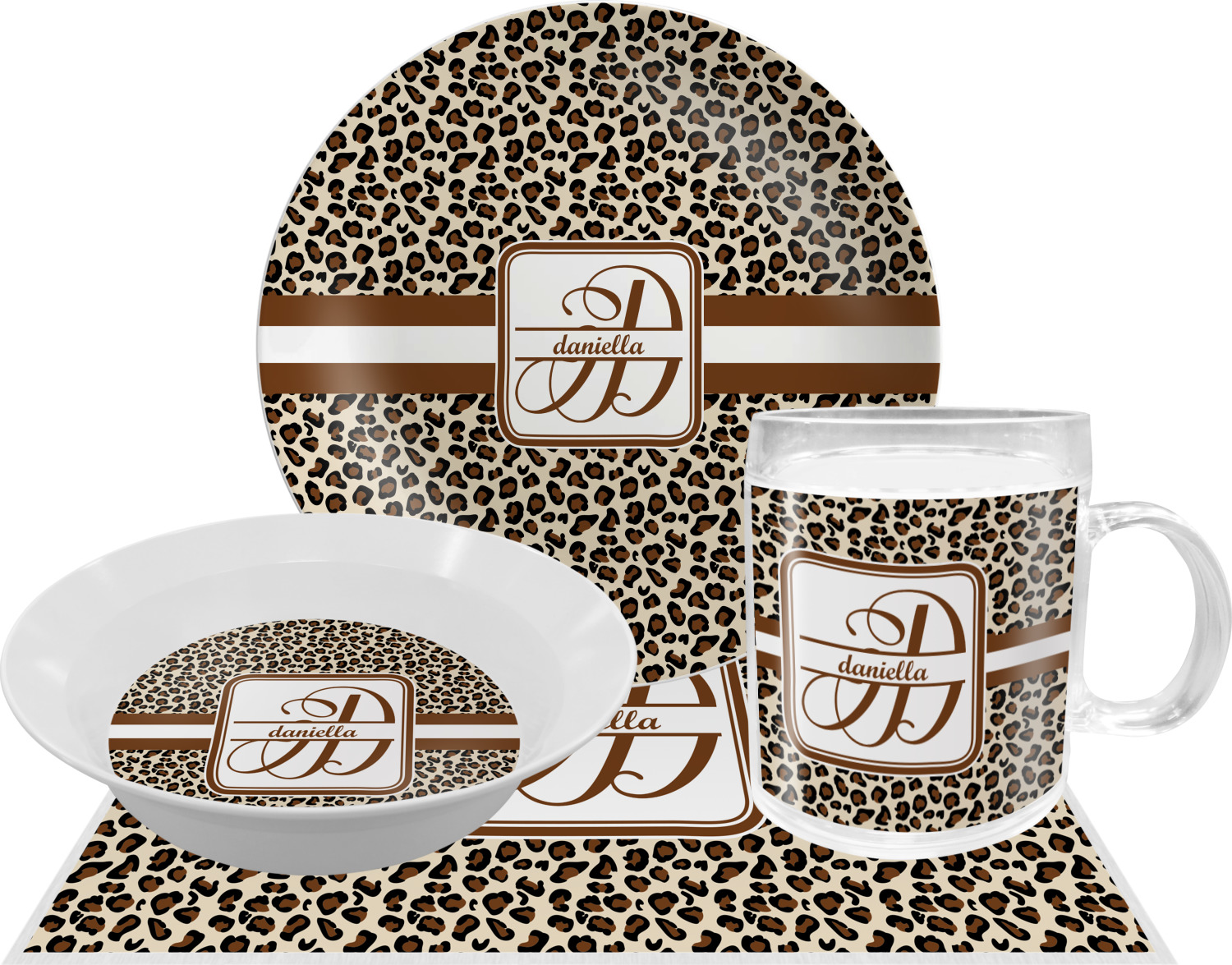 Leopard Print Dinner Set 4 Pc Personalized