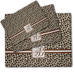 Leopard Print Dog Food Mat w/ Name and Initial