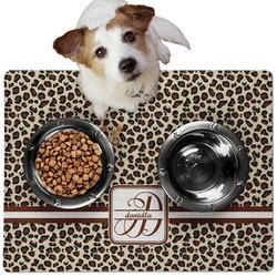 Leopard Print Dog Food Mat - Medium w/ Name and Initial