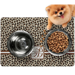 Leopard Print Dog Food Mat - Small w/ Name and Initial