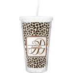 Leopard Print Double Wall Tumbler with Straw (Personalized)
