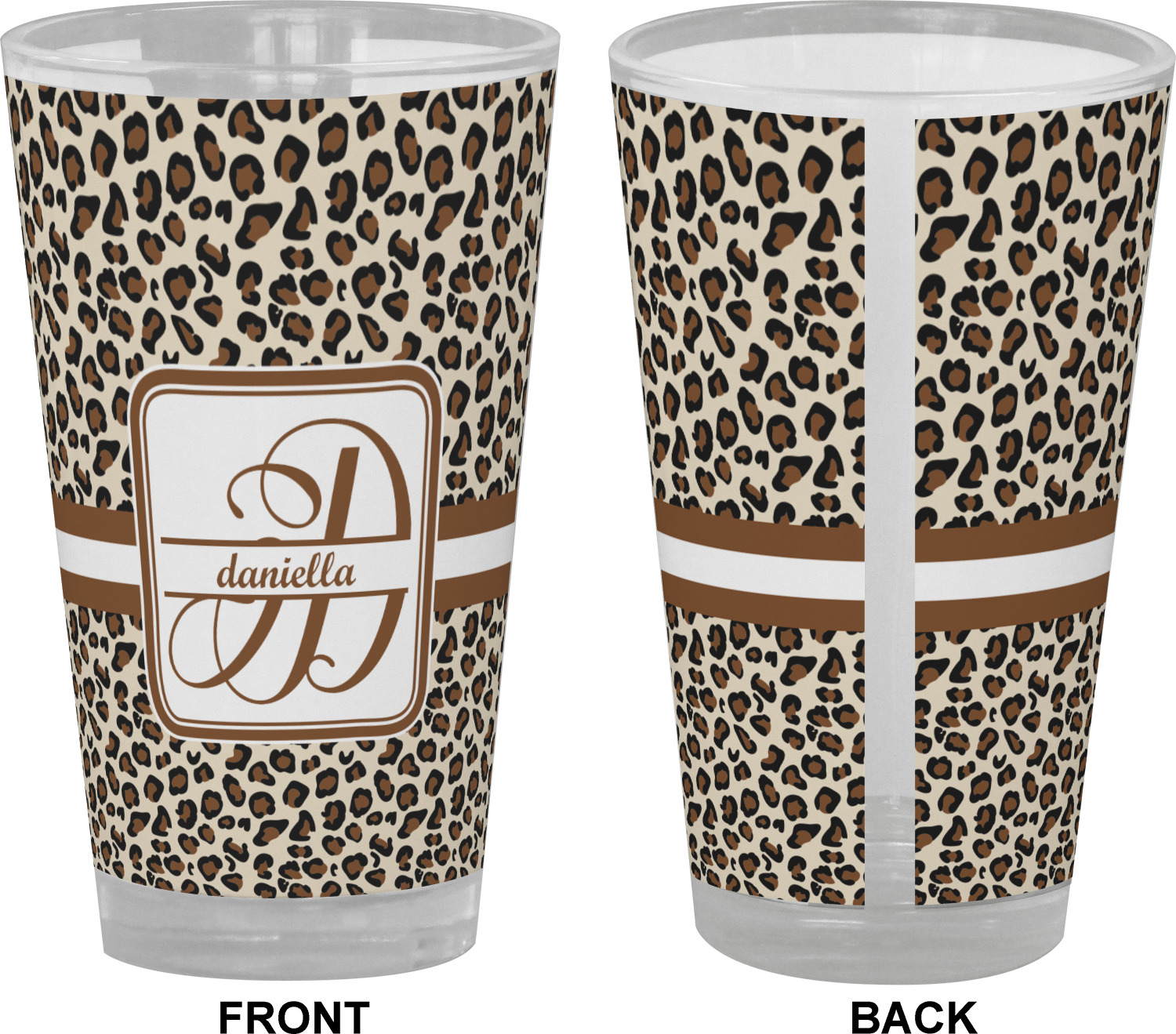 Leopard Print Drinking Pint Glass Personalized
