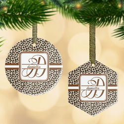 Leopard Print Flat Glass Ornament w/ Name and Initial