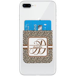 Leopard Print Genuine Leather Adhesive Phone Wallet (Personalized)