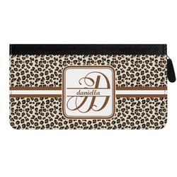 Leopard Print Genuine Leather Ladies Zippered Wallet (Personalized)