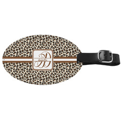 Leopard Print Genuine Leather Luggage Tag (Personalized)