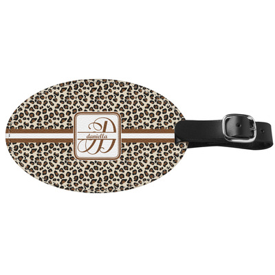 Leopard Print Genuine Leather Oval Luggage Tag (Personalized)