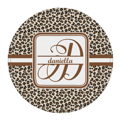 Leopard Print Round Desk Weight - Genuine Leather  (Personalized)