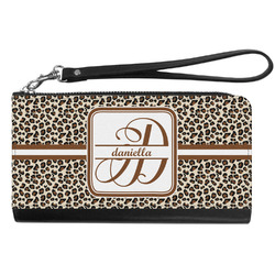 Leopard Print Genuine Leather Smartphone Wrist Wallet (Personalized)