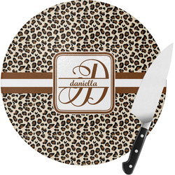 Leopard Print Round Glass Cutting Board (Personalized)