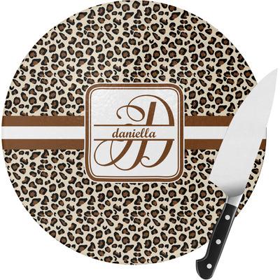 Leopard Print Round Glass Cutting Board (Personalized)