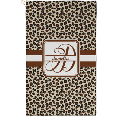 Leopard Print Golf Towel - Full Print - Small w/ Name and Initial