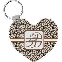 Leopard Print Heart Keychain (Personalized)