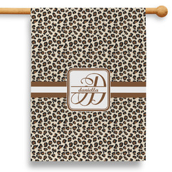 """Leopard Print 28"""" House Flag - Double Sided (Personalized)"""