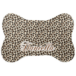 Leopard Print Bone Shaped Dog Food Mat (Personalized)