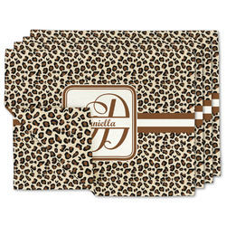 Leopard Print Linen Placemat w/ Name and Initial