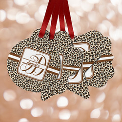Leopard Print Metal Ornaments - Double Sided w/ Name and Initial