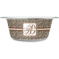 Leopard Print Stainless Steel Dog Bowl (Personalized)