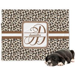 Leopard Print Minky Dog Blanket - Regular (Personalized)