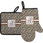Leopard Print Oven Mitt & Pot Holder Set w/ Name and Initial