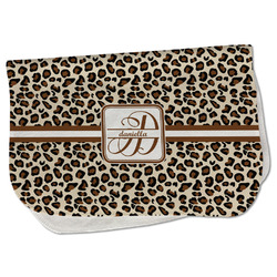Leopard Print Burp Cloth - Fleece w/ Name and Initial