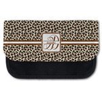 Leopard Print Canvas Pencil Case w/ Name and Initial