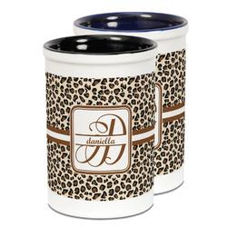 Leopard Print Ceramic Pencil Holder - Large